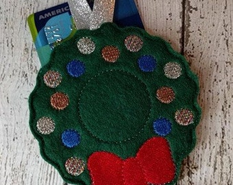 Wreath - Gift Card Holder - Christmas - Ornament -  In The Hoop - DIGITAL Embroidery DESIGN