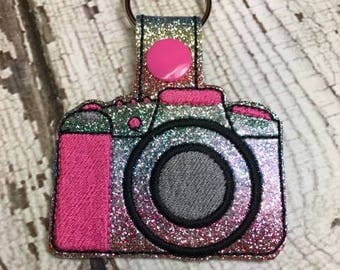 Camera - Photography - Snap/Rivet Key Fob - DIGITAL Embroidery Design