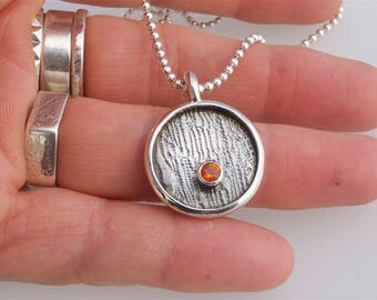 Handcrafted contemporary Fire Opal Necklace in Sterling Silver only one made so one of a Kind ladies necklace