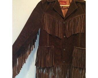 1970s Brown Suede Fringe Jacket Leather Psychedelic
