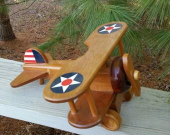 Vintage Wood Bi-Plane Toy Plane