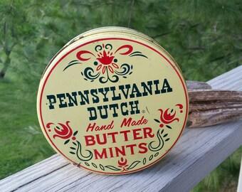 Pennsylvania Dutch Hand Made Butter Mints Tin