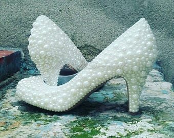 Hand Embellished Pearl Wedding Shoe's, Pearl Bridal Shoes, Pearl Wedding Shoes
