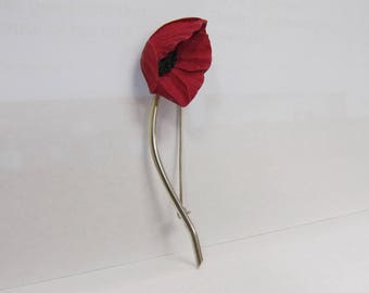 Vintage Sterling Silver Handmade Carved Folded Poppy Pin W #727