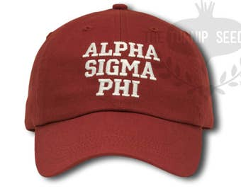 Alpha Sigma Phi Fraternity Baseball Cap - Custom Color Hat and Embroidery.