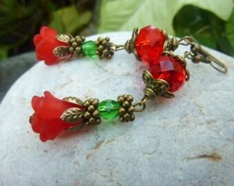Women's Christmas Crystal Dangle Flower Earrings 64mm Handmade Costume Jewellery