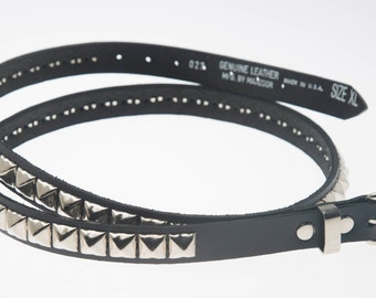 """3/4"""" (20mm) wide Genuine Leather Belt with 1 row 1/2"""" (13mm) PY/77 Square Pyramid Studs Silver/Chrome Studded Spiked USA NYC"""