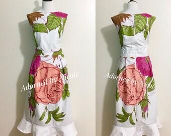 Pink Rose African Print Dress