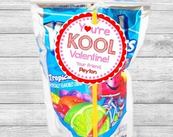 Valentine Tags Personalized, You're KOOL Printable Valentine Stickers, Valentine's Day Kool Aid Girl Boy Party School Class Classroom Favors