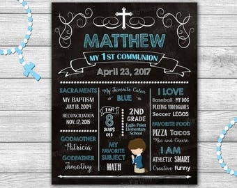 First Communion Chalkboard Sign, First Communion Boy Sign PRINTABLE, First Communion Decorations, First Communion Poster Gift Holy Banner