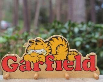 Vintage Wooden Garfield Wall Hook Rack / Enesco Garfield Clothes Hooks / 1978 Garfield Wall Hooks / Garfield Decor / Wooden Garfield Rack