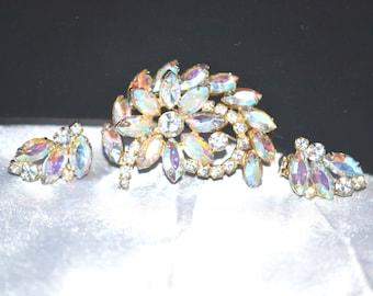 Vintage Juliana DeLizza Elster Aurora Borealis Brooch Earring Set