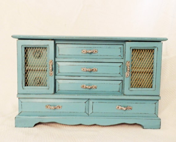 Ladies large jewelry armoire girls jewelry chest provence blue for Girls large jewelry box
