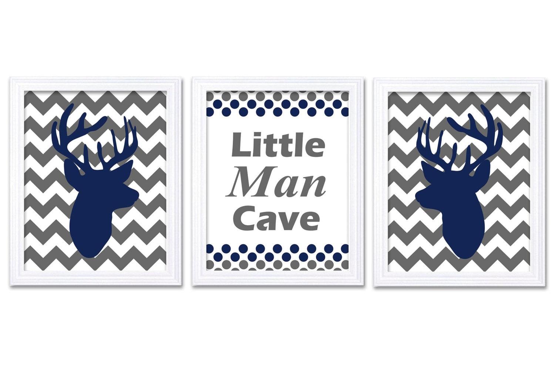 Little Man Cave Navy Blue Grey Deer Nursery Art Deer Head Prints Set of 3 Chevron Baby Boy Kid Child