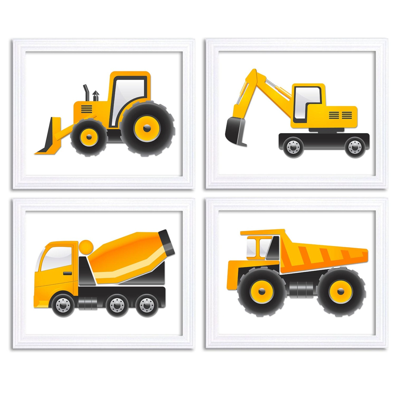 Yellow Black White Transportation Construction Vehicles Heavy Machinery Child Set of 4 Prints Boy Nu
