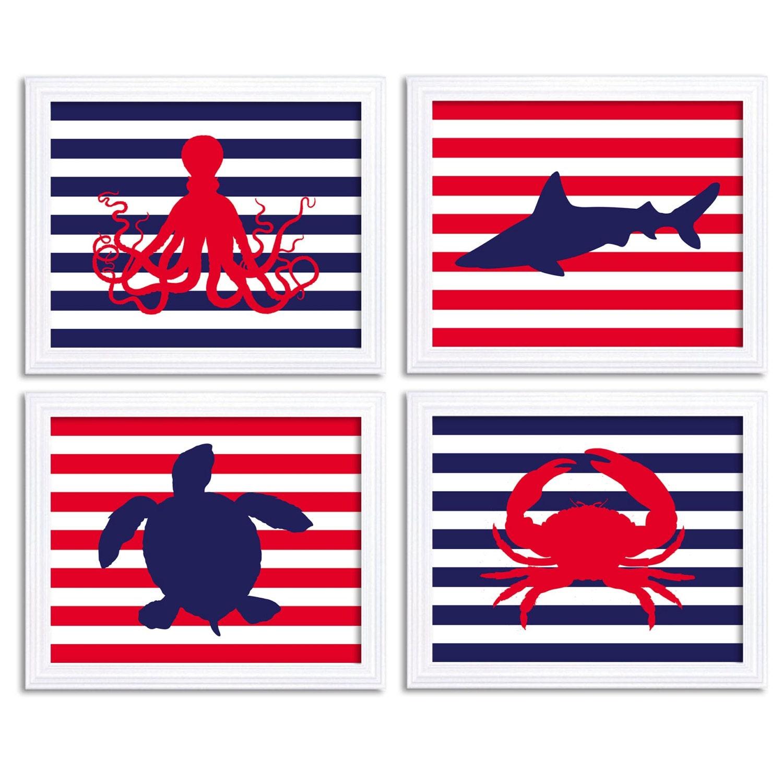 Nautical Nursery Art Set of 4 Prints Red Navy Blue Stripes Child Kid Boy Room Wall Decor Octopus Sha