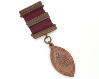 Waifs Strays Society Bronze Medal Childrens Union Church of England, Vintage English Medal Suffer Little Children, Collage Supply Assemblage