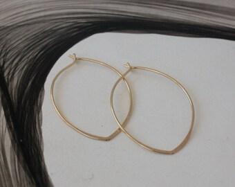 Leaf hoop earrings-14K gold filled
