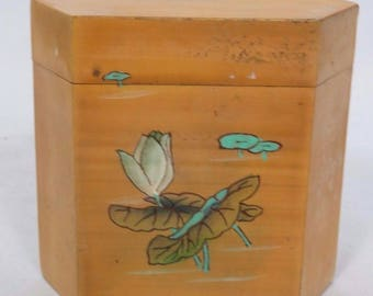 Chinese Wood Jewelry Trinket Box Lid Lotus Flower Design Lacquer Calligraphy Vtg