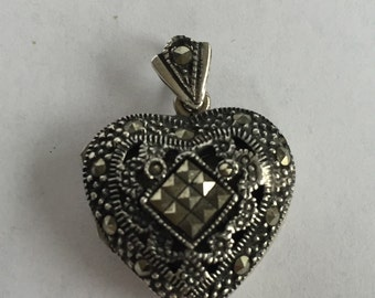 Marcasite Sterling Heart Locket Pendant 4 Necklace 925 Silver Vintage Jewelry Boho Birthday Holiday Anniversary Mother's Graduation Gift