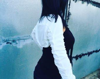 Shrug Bolero, Long Sleeved Shrug, Extravagant Ivory, Black or Grey Jersey Bolero Cotton Shrug