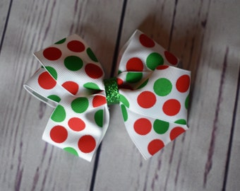 Red, Green, White Polka Dot Boutique Hair Bow
