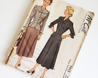 SIZE 20 7412 McCALLS McCall Women's UNCUT Factory Folded Sewing Pattern 1940s Forties Vintage Misses Fitted Jacket Large Shawl Collar Skirt