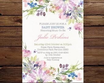 Purple Baby Shower Invite, watercolor floral Invitation, Gender neutral Invitation, Printable Invitation, Digital invite, Baby shower invite