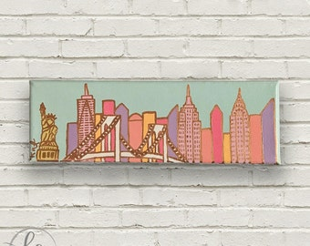 NYC Skyline Painting with Gold Leaf | 3x9