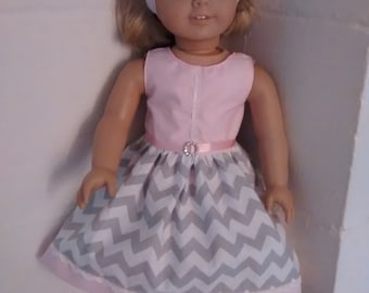 American Made Doll Clothes. 18 inch doll gray chevron dress. 15 inch baby doll pink dress