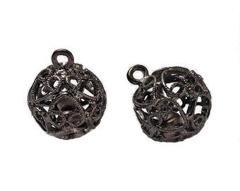 Round Black Filigree Heart Design Pendant with Bell - Hollow Tibetan Style, Size About  19mm in diameter, hole: about 3mm  128