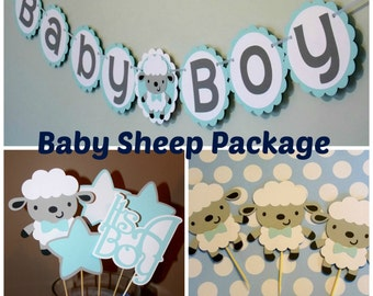 Baby Boy Sheep Package/ Sheep Cupcake Toppers/ Sheep Centerpieces/ It's A Boy/ Baby Boy Sheep Banner/ Sheep Baby Shower/ Lamb