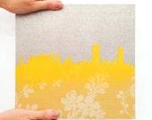 Custom Boston Skyline (Original) - Reclaimed Wallpaper Laser Cut Design - One of a Kind