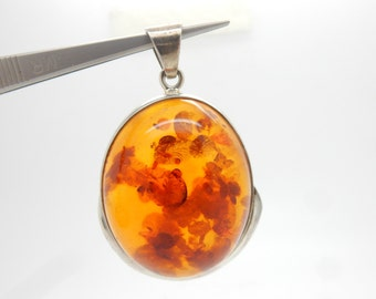 Vintage Sterling Silver/925 Large Round Baltic Amber Dangle Pendant--27.9gr #3091