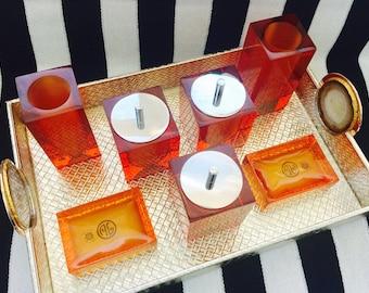 Modern Orange Lucite Bath Accessories by Jonathan Adler.