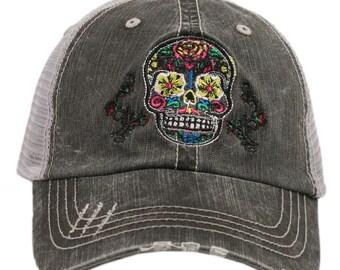 Sugar Skull Baseball/Trucker Hat ~ Womens Hat ~ Adorable