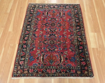 Persian Rug Magenta Oriental Rug 3' 9 x 4' 10 Lilihan Antique Decor
