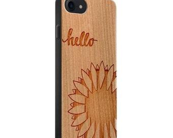 Cherry Wood Engraved Phone Case - Hello Sunshine