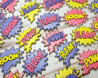 Pow! Bam! Boom! Cookies Superhero Cookies  1 Dozen Superhero party
