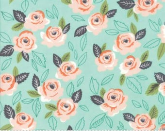 Sugar PIe~Wildest Rose Aqua~Cotton Fabric, Quilt, by Moda ,Fast Shipping,F863