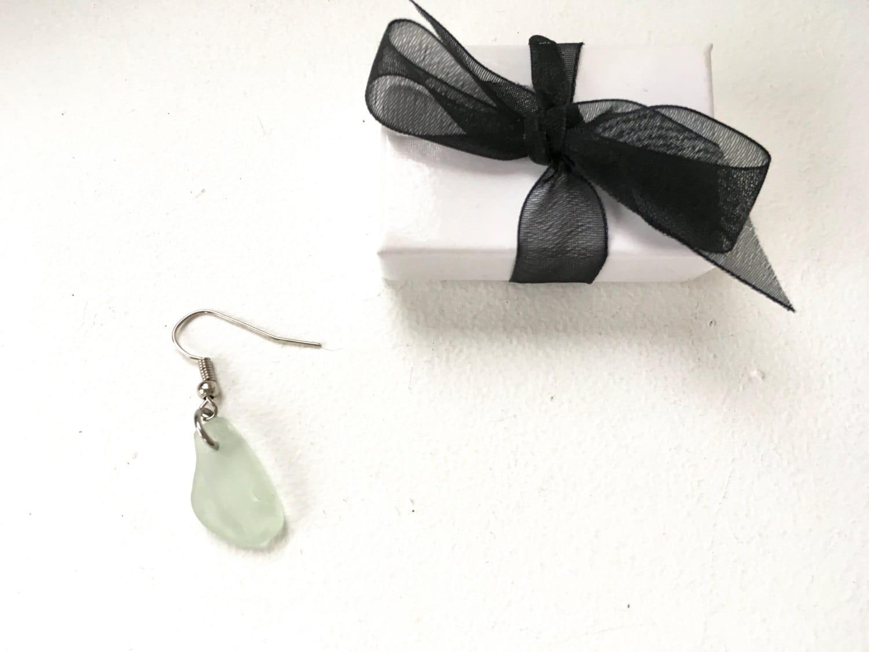 mens sea glass earring single earring hipster jewelry