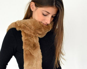 Rex Rabbit Fur Scarf, Real Fur Scarf, Womens Scarves, Neck Warmer, Brown Fur Scarf, Wrap, Gift for Her, Fur Collar, Winter Scarf, Warm Scarf