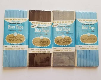 Lot of 4 Solid colored Vintage Wrights Bias Tape New in Package
