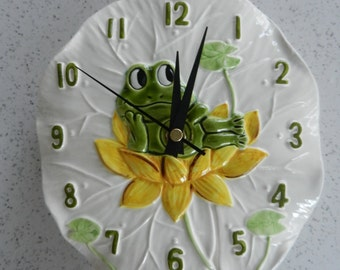 Vintage Working Neil the Frog Wall Clock, Kitchen Clock, Kitchen Decor, Battery Operated, Sears, Lily Pad