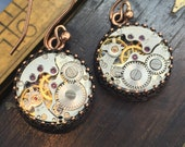 Copper steampunk earrings.  Jeweled watch movements. Handcrafted artistic jewelry -The Victorian Magpie