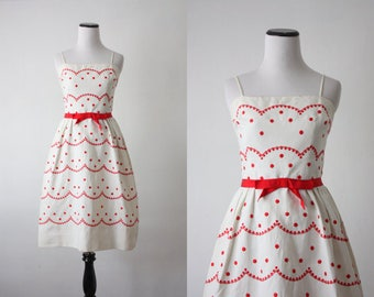 Valentine 1950s Red Sweetheart Dress: