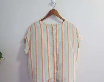 pastel striped blouse