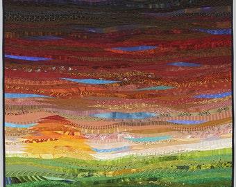 Modern art quilt. Textile landscape. Pieced art quilt. 40x40 inches. Contemporary fiber art. Modern home decor. Autumn sunset. Original art.