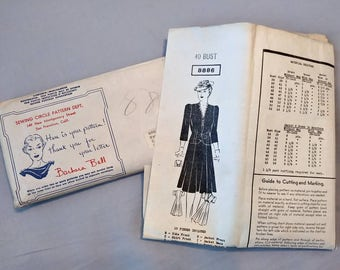 1940s Barbara Bell Mail Order Pattern #8886 Size 40 Bust Tie Front Jacket and Dress Pattern