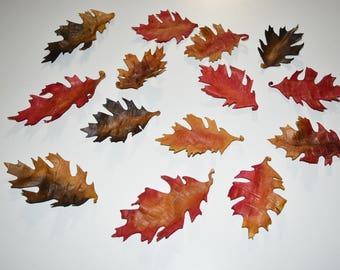 Leather oak leaf wall hanging